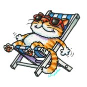 TS CAT ON DECKCHAIR LARGE